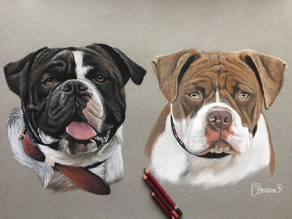 A portrait of two dogs in pastel